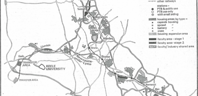 A map of Price's never-built Potteries Thinkbelt.